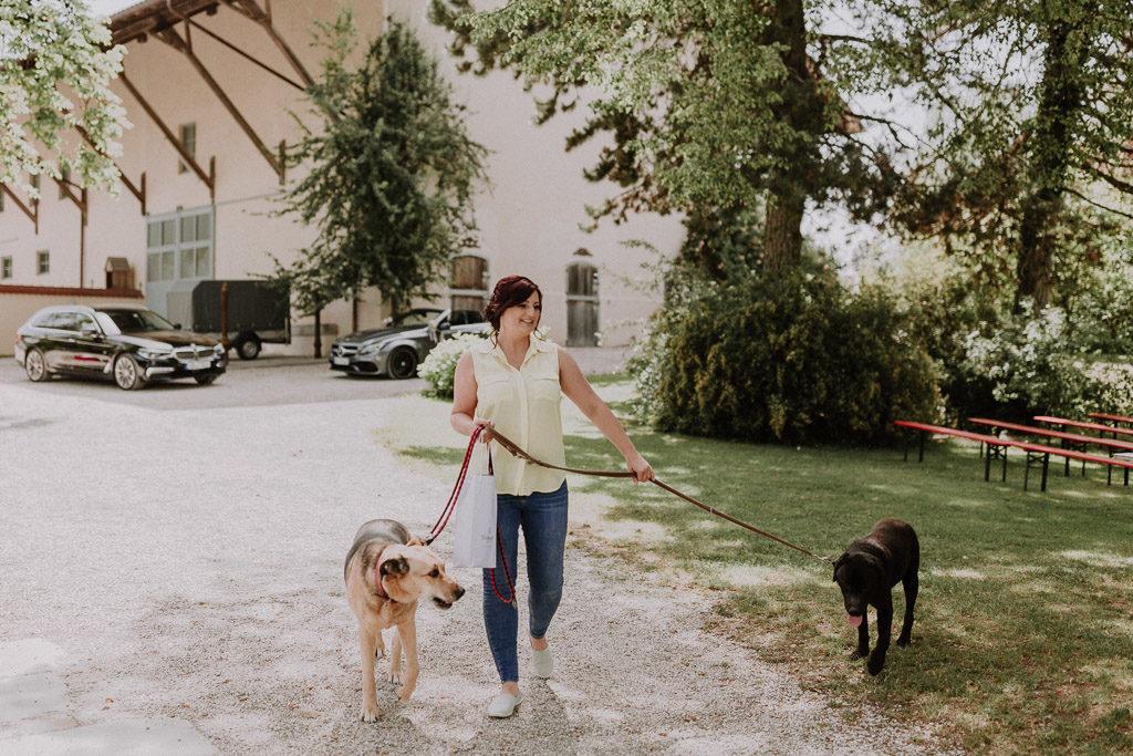 Braut mit den Hunden auf dem Weg zum Getting Ready ins Schloss Amerang